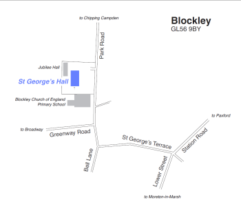 Local map showing St George's Hall in Blockley